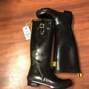 NWOT joules yellow stripe bumble bee rain boots 8